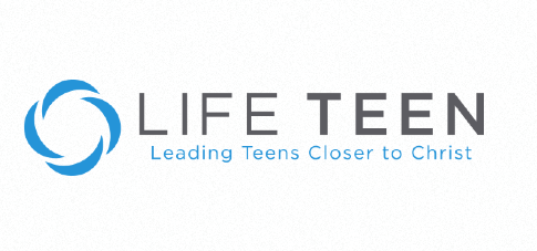 "Lifeteen logo, composed of the text ""LIFE TEEN"" and the additional text ""Leading Teens Closer to Christ"""